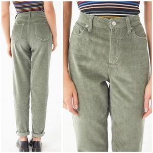 BDG Olive Retro 80's High-Rise Corduroy Mom Pants